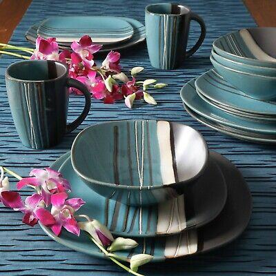 Beautiful 32-Piece Teal Stylish Dinnerware Set Round Square Plates Bowls Mugs - Teal Dinnerware
