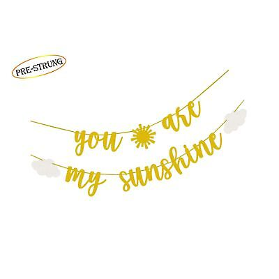 You Are My Sunshine Gold Glitter Banner with Sun and Clouds for Baby Shower K...