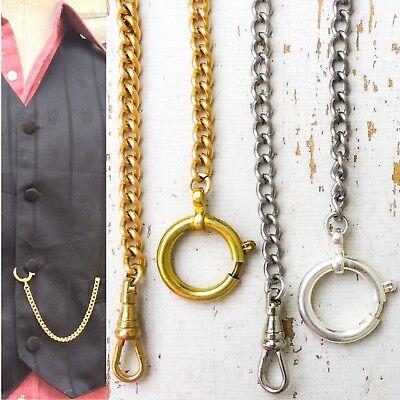 1 Victorian Steampunk Pocket Watch chain Men Vest Groom Gold Silver 8-12