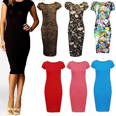 Ladies Women Cap sleeve Long Plain Party Maxi Casual Midi Dress Plus Size 8-26 Cap Sleeve Plus Size Cap