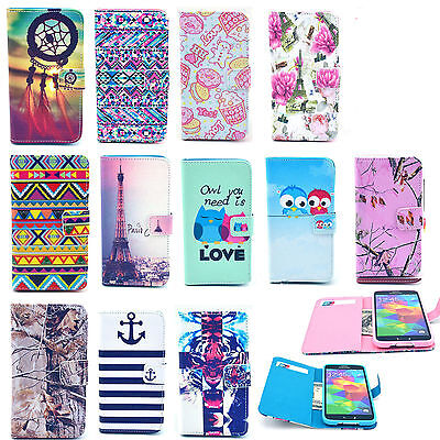 Vintage Stand Flip Wallet Leather Hybrid Soft Case Cover For Smart Cell Phone
