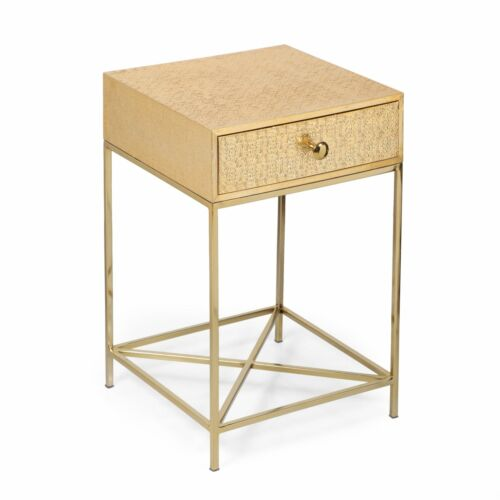 Kew Boho Handcrafted Moroccan Mesh Aluminum Nightstand with Drawer, Brass Furniture
