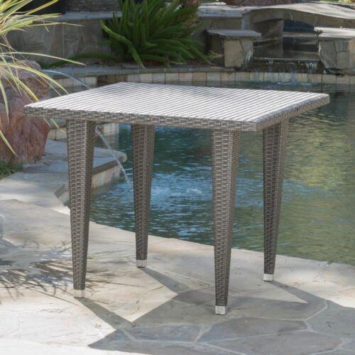 Alrol Contemporary Outdoor Patio Grey Polyethylene Square Table Home & Garden