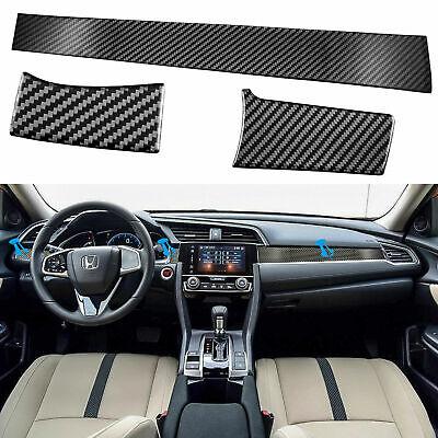 Carbon Fiber Center Dashboard Console Cover Trim Sticker For Honda Civic 2016-19