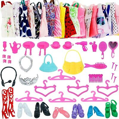 52PCS Doll Clothes And Accessories For Barbie Party Dresses Kids Girl Shoes Gift