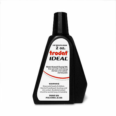 Trodat Ideal Self Inking or Stamp Pad Refill Ink, 2 oz. Bottle - BLACK 2 Self Inking