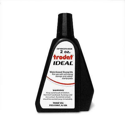 Trodat Ideal Self Inking Or Stamp Pad Refill Ink 2 Oz. Bottle - Black