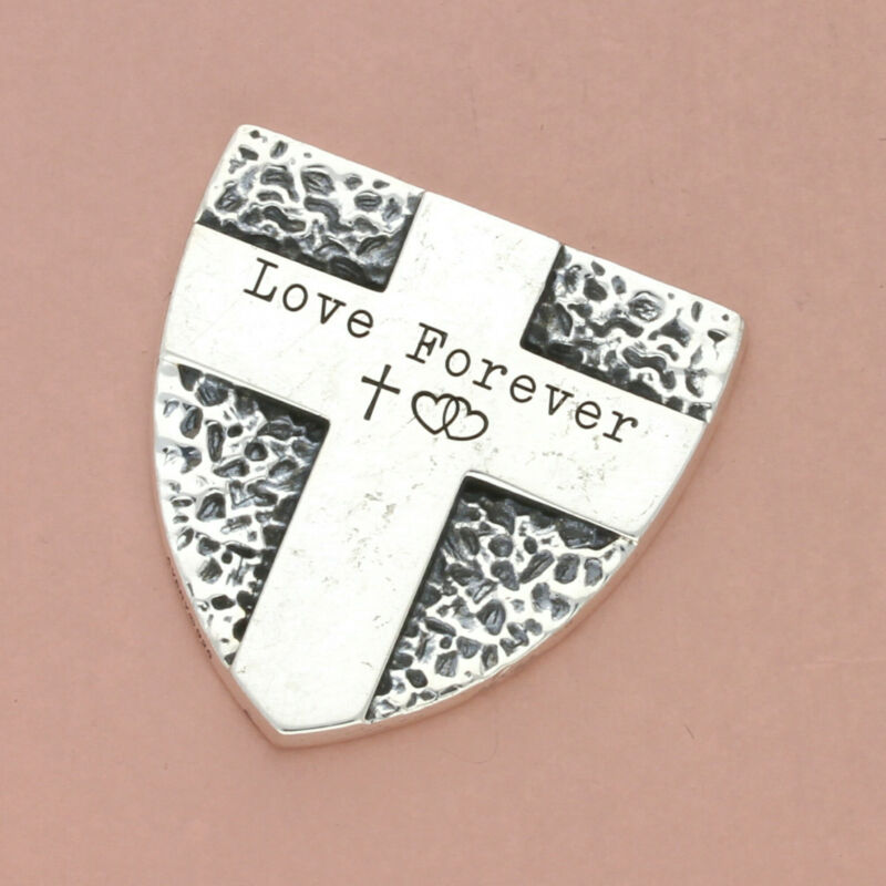 james avery sterling silver fear not shield (engraved) pocket piece