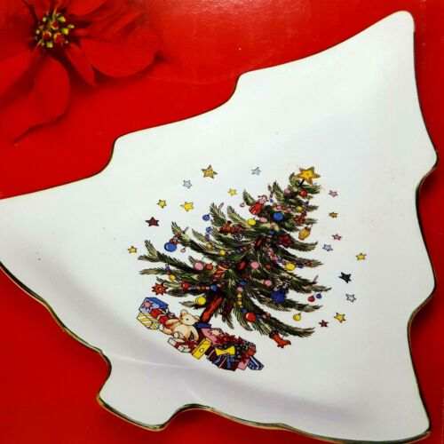 """Vintage Nikko 11"""" Ceramic Candy Dish Happy Holiday Christmas Tree Made in Japan"""
