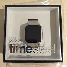 Pebble Time Steel - silver with leather strap Melbourne CBD Melbourne City Preview