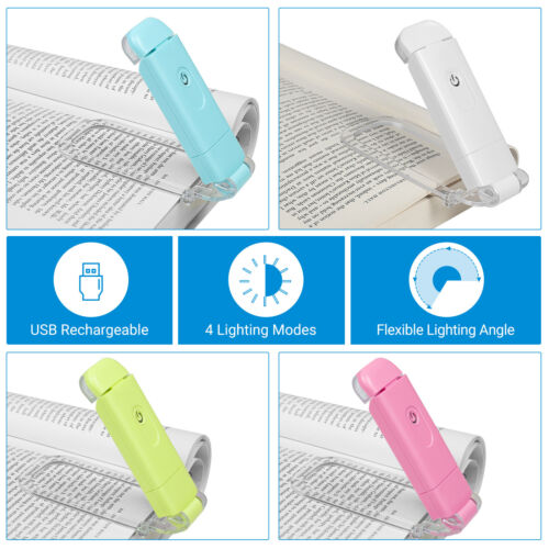 DEWENWILS Book Light Rechargeable Amber Reading Lights 4 Brightness Adjustable