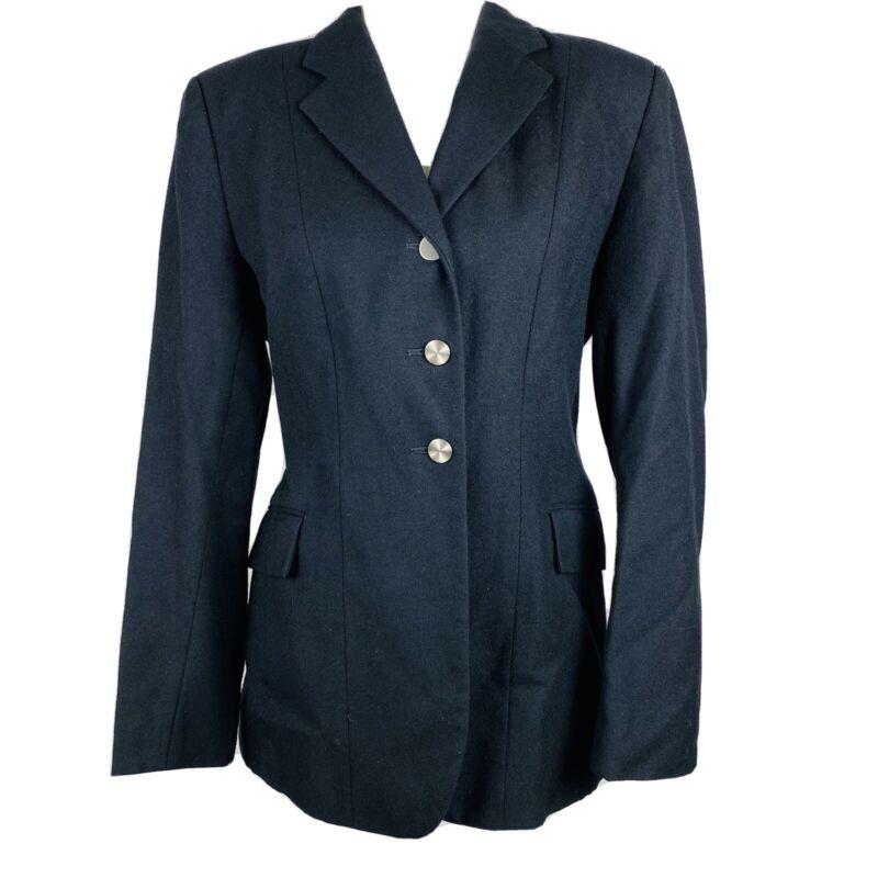 THE ELITE Equestrian Horse Riding Jacket Size 8 Show Coat Black 100% Wool Ladies