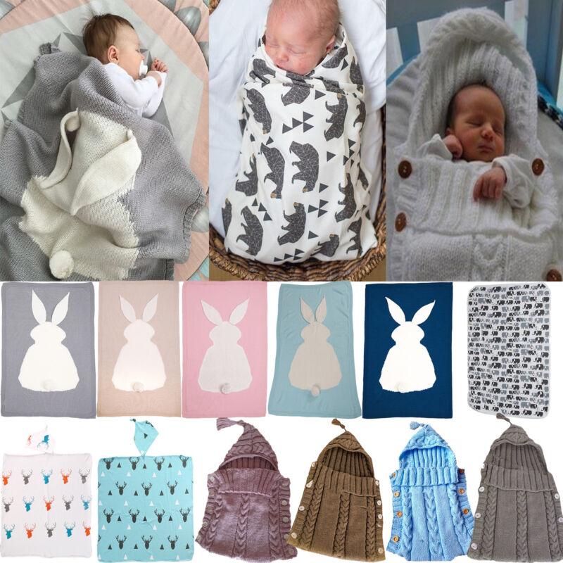 Newborn Infant Baby Boy Girls Swaddle Wrap Snap Blankets Sle
