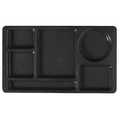 Cafeteria School Lunch Food Tray Black Divided 6-Compartment SiLite 615 _243-01 6 Compartment Cafeteria Tray