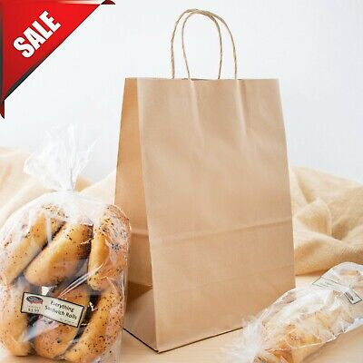 250 Natural Brown Kraft Paper Shopping Bags With Handle 10 X 5 12 X 13 14