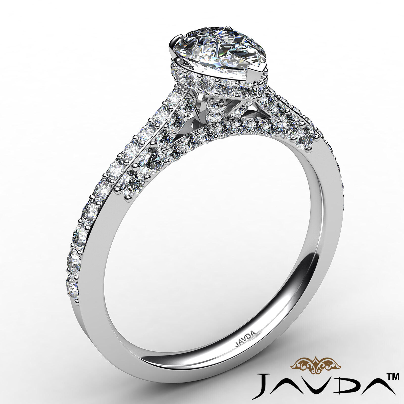 Pear Diamond Engagement Pave Ring GIA Certified H Color & VS2 clarity 1.06 ctw 3