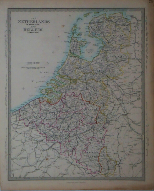 1847 Genuine Antique hand colored map of the Netherlands & Belgium. SDUK