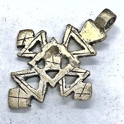 Antique Post Medieval Coptic Christian Silver Tone Cross Pendant Charm Rare A