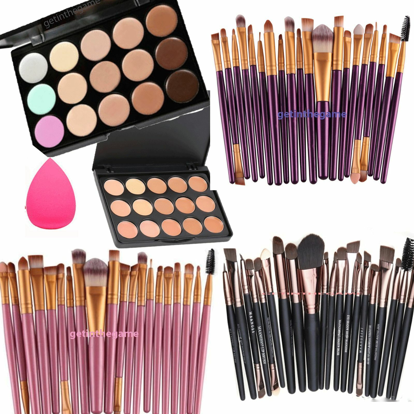 15 Colors Contour Concealer Palette Face Cream Makeup + OR SPONGE or 20 pc BRUSH Concealer