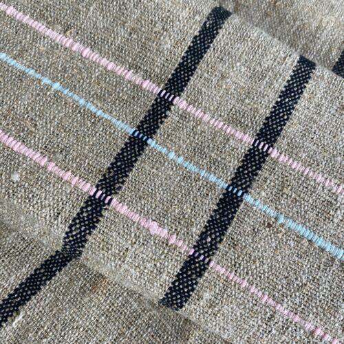 Antique grain sack fabric hemp linen bolt 3.4 yards black pink blue RARE