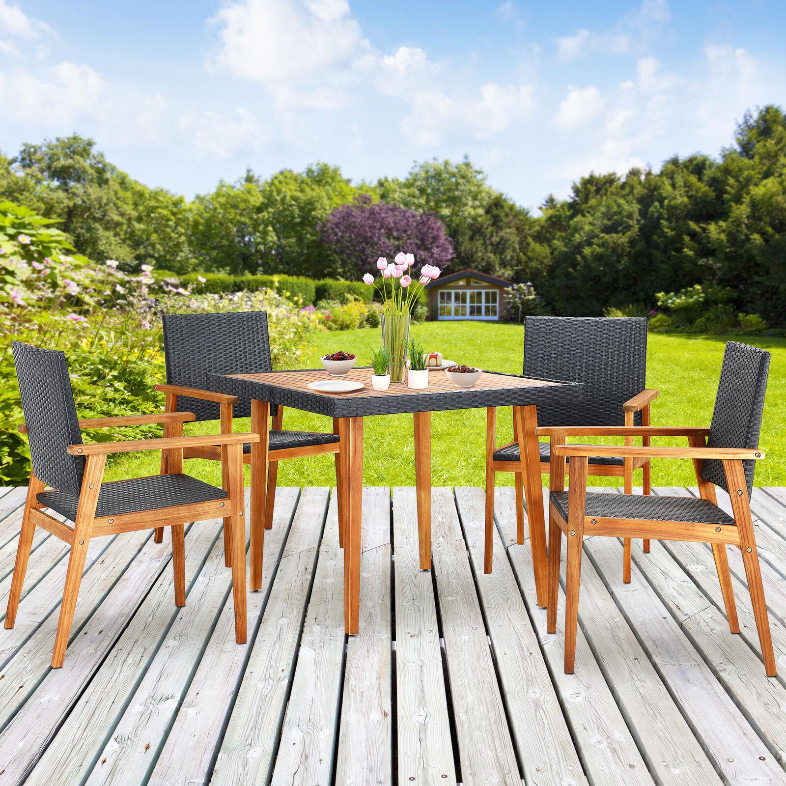 B-WARE Poly Rattan Sitzgruppe Gartenmöbel Set Balkonset Akazie Holz Garten 5 tlg