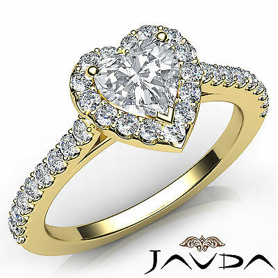 Halo French Set Pave Heart Diamond Engagement Ring Gold GIA Certified F VS1 1Ct