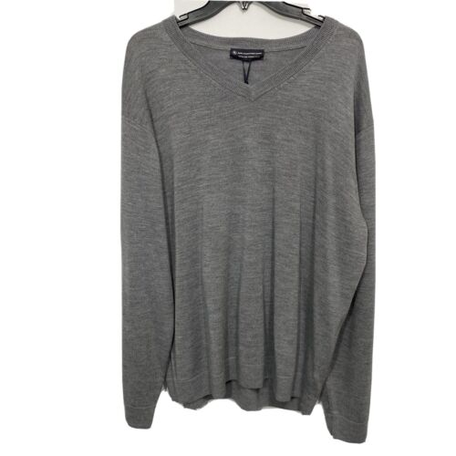$99 Hart Schaffner Marx V-Neck L/S Sweater 2XT 2XLT Grey Merino Wool Pullover Clothing, Shoes & Accessories