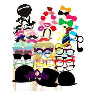 58Pcs Photo Booth Photobooth Wedding Props Moustache On A Stick Party Prop DIY