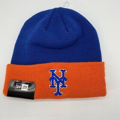 Beanie Hat Cap New Era Mens New York Mets Cuff Knit Hat Orange Blue MLB OSFA Blue Cuff Knit Beanie Cap