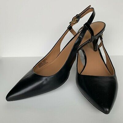 Calvin Klein Womens Black Leather Pointed Toe Sling Back Pumps Shoes Size 8