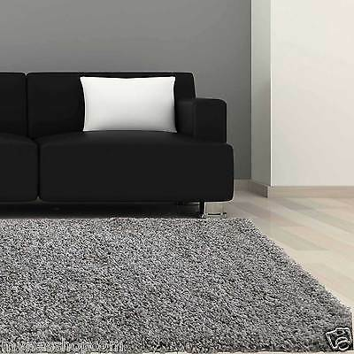 Hochflor Teppich Shaggy Langflor in grau 160x230cm Wohnzimmer Kuschelteppich
