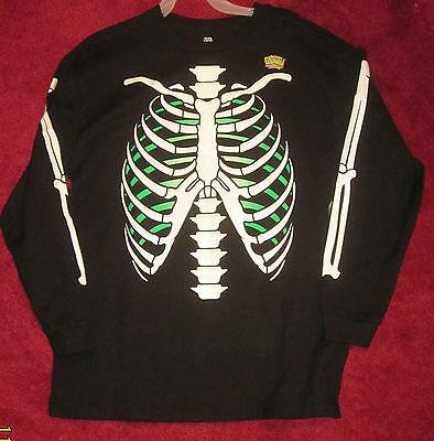skeleton T shirt bones  XL 14-16  top glow in dark long sleeve Halloween