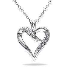 "Amour Sterling Silver Diamond Heart Pendant Necklace Pendant 18"" Chain 925"