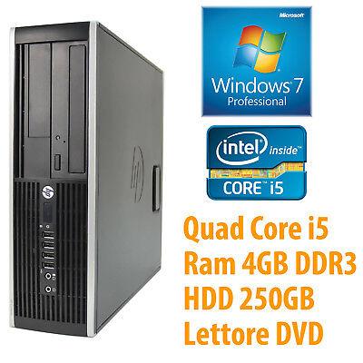 PC COMPUTER DESKTOP FISSO HP RICONDIZIONATO QUAD CORE i5 4GB 250GB WINDOWS 7 PRO