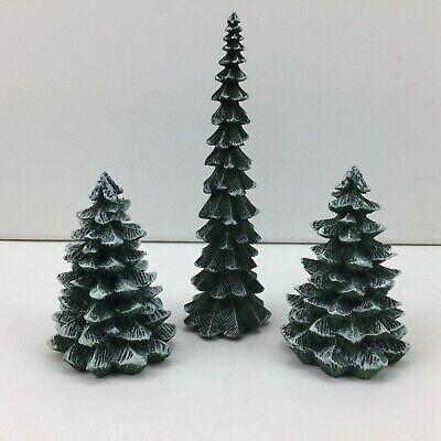 Christmas Village Snow Covered Pine Trees Tree Holiday Decor Train Set 3