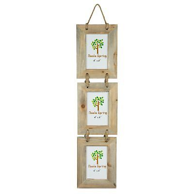 """Wooden Shabby Chic Rustic Driftwood Triple Hanging Photo Picture Frame-4x6"""""""