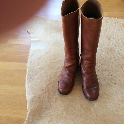 Luxus Damen Leder Stiefel von Poste 957 Gr. 42 cognac Weitschaft