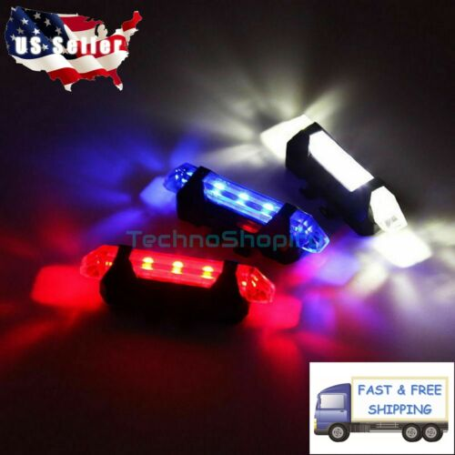 Bike Tail Light Bicycle Rechargeable USB 5 LED Safety Rear Lamp Flashing Warning
