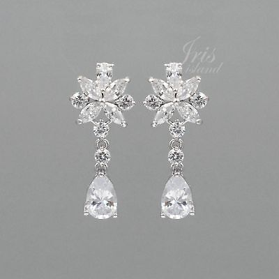 - WGP Cubic Zirconia CZ Wedding Bridal Drop Dangle Earrings 0434 Bridesmaid
