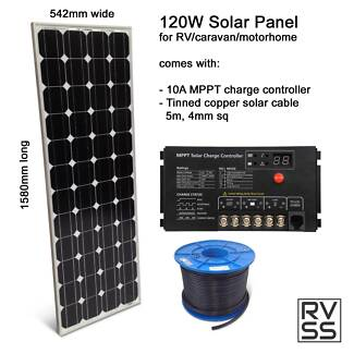 RV Solar Kit, 120W 24V panel, MPPT 10A Reg, 5m solar cable Capalaba Brisbane South East Preview