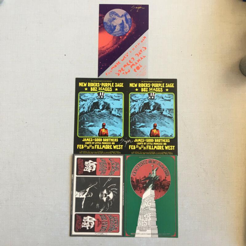 BG Fillmore David Singer handbills New Riders Taj Mahal Country Joe
