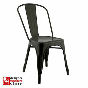 Replica Xavier Pauchard Tolix Metal Chair Matte Black EBay