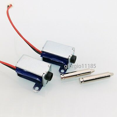 US Stock 2pcs DC 3~12V Push Pull Type Solenoid Electromagnet Micro Solenoid