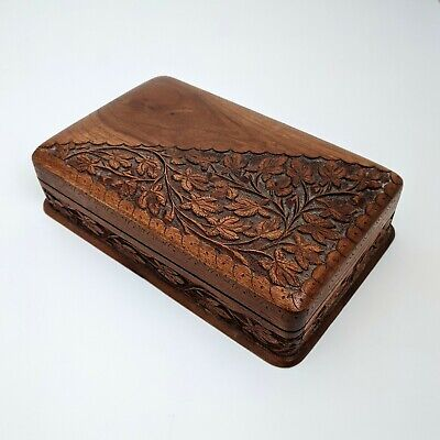 Antique Vint Hand Crafted Carved Floral Hardwood Jewellery Trinket Storage Box