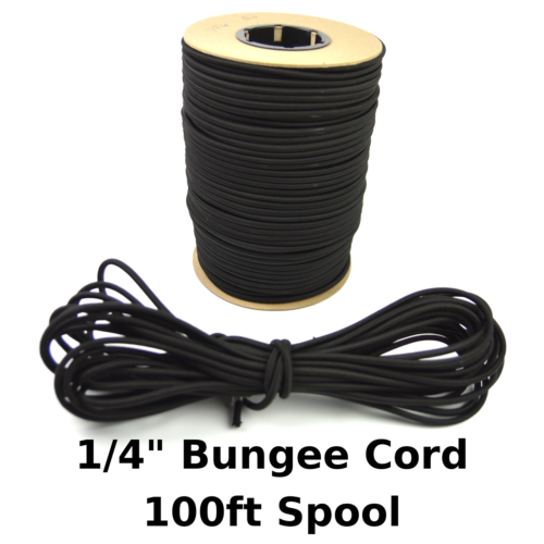 "100ft 1/4"" Black Shock Cord Marine Grade Bungee Heavy Duty Tie Down Stretch Rope"
