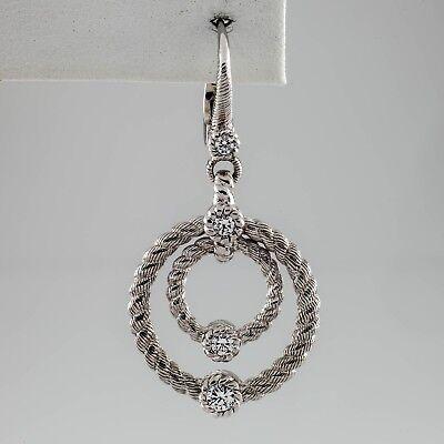 Judith Ripka Sterling Silver Double-Circle Drop EARRING w/ CZ SINGLE EARRING