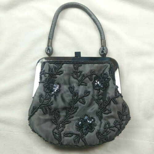 T7 Express Flapper Micro Mini Beaded Purse Floral Gray