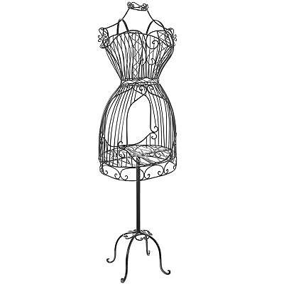 Vintage Designers Black Metal Scrollwork Wire Frame Dress Form Display Ra... New