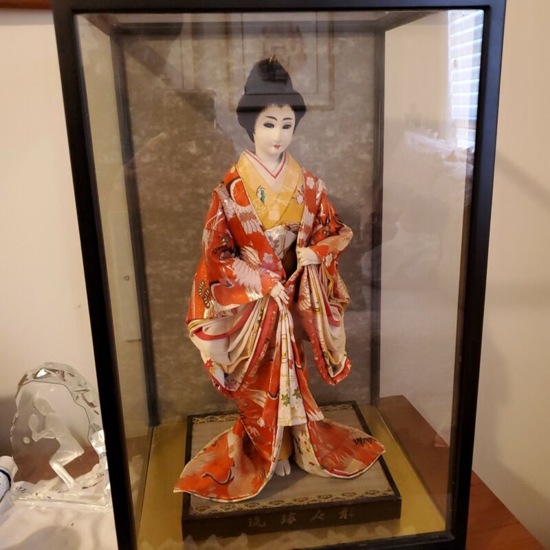 """17"""" Vintage Japanese Doll With 21""""Glass Case"""