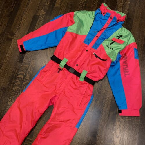NEVICA One Piece Ski Suit Snow Bib Snowsuit Vtg 80s onsie Ne